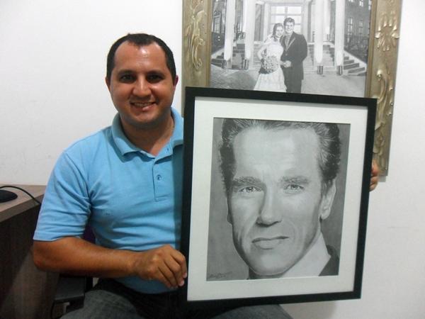 Curso de Desenho Realista de Carlos Damasceno - com retrato de Arnold Schwarzenegger