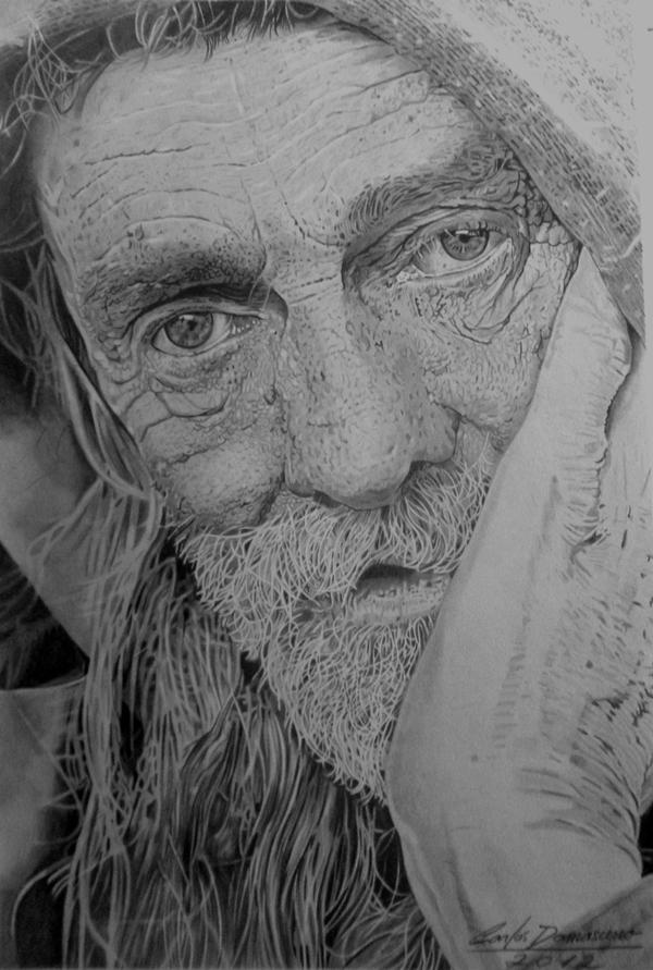 Curso de Desenho Realista de Carlos Damasceno - velho com a mão no rosto