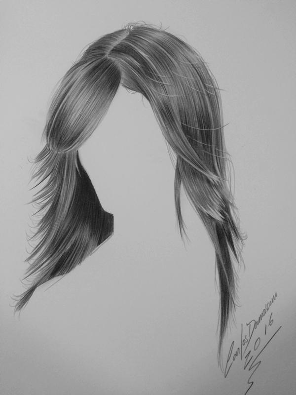 Curso de Desenho Realista de Carlos Damasceno - aula cabelo liso feminino
