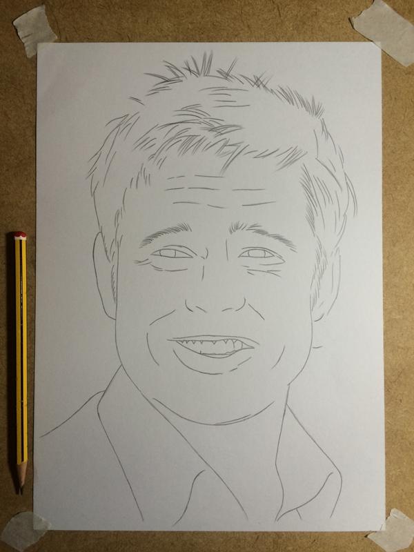 Curso de Desenho Realista de Carlos Damasceno - esboço do desenho de Brad Pitt