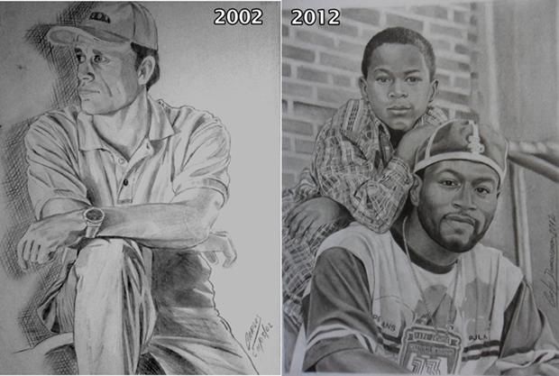 Curso de Desenho Realista de Carlos Damasceno - desenhos antes e depois de Carlos Damasceno