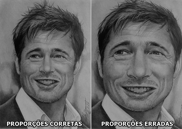 Curso de Desenho Realista de Carlos Damasceno - Brad Pitt - proporções certas e erradas
